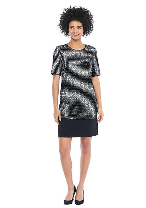 Lace Stripe Sheath Dress