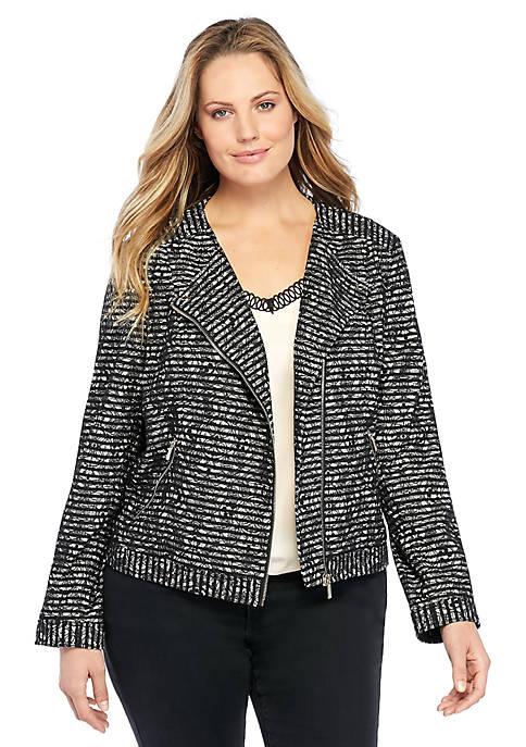 Plus Size Lace Stripe Moto Jacket