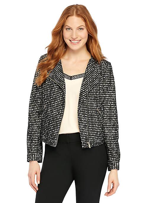 Petite Lace Stripe Moto Jacket