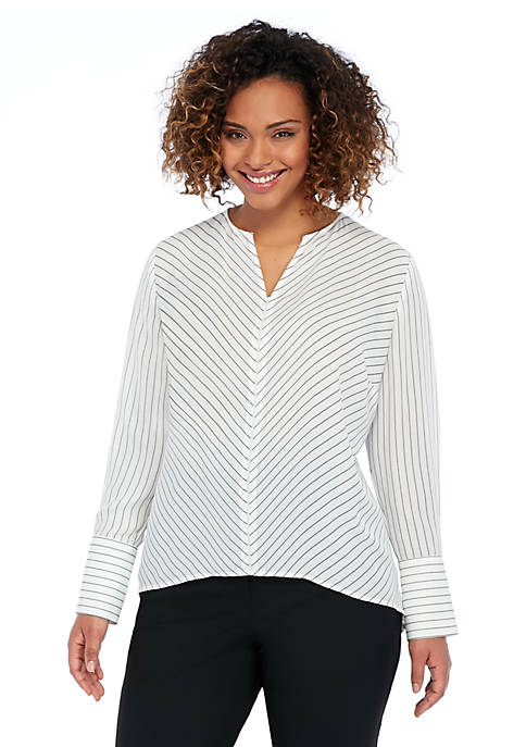 Plus Size Pinstripe High Low Blouse
