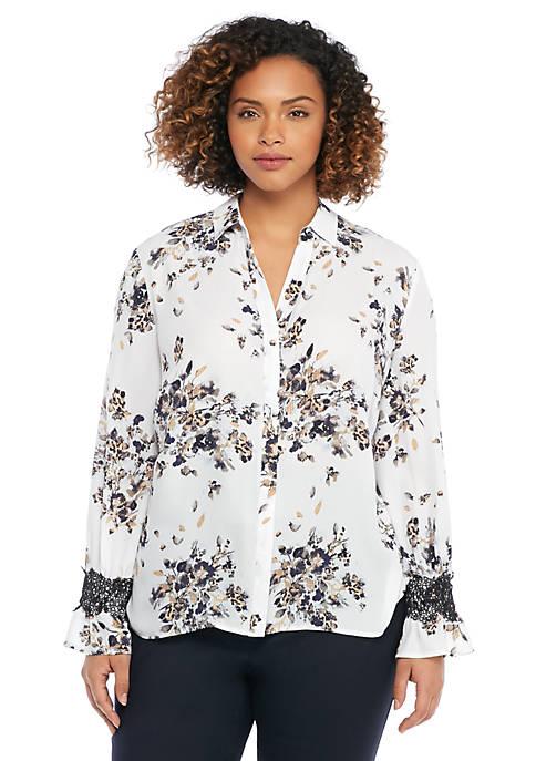 Plus Size Printed Fluid Lace Crepe Shirt