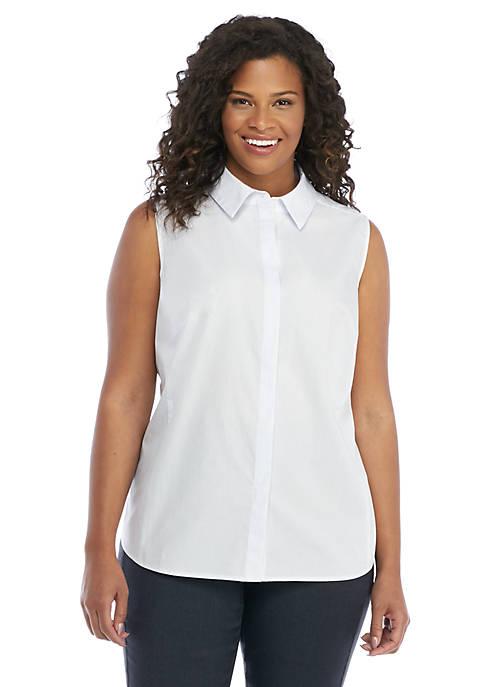 Plus Size Pinstripe Cotton Sleeveless Shirt