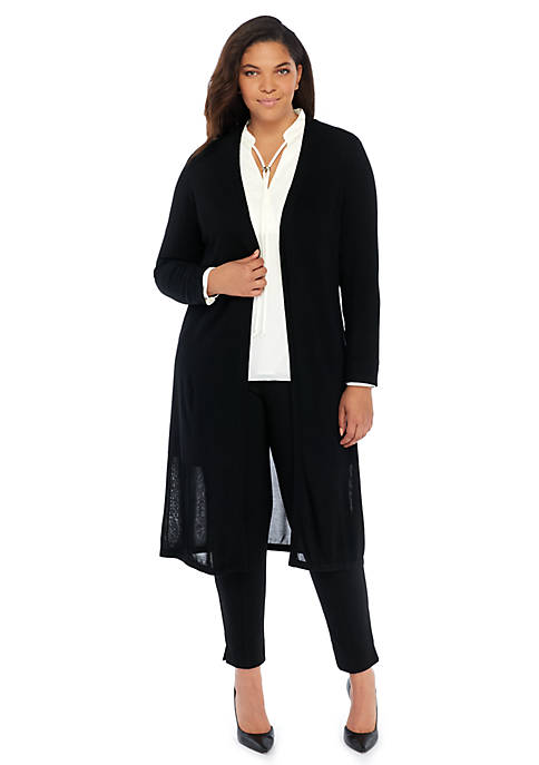 Plus Size Long Sleeve Open Front Duster