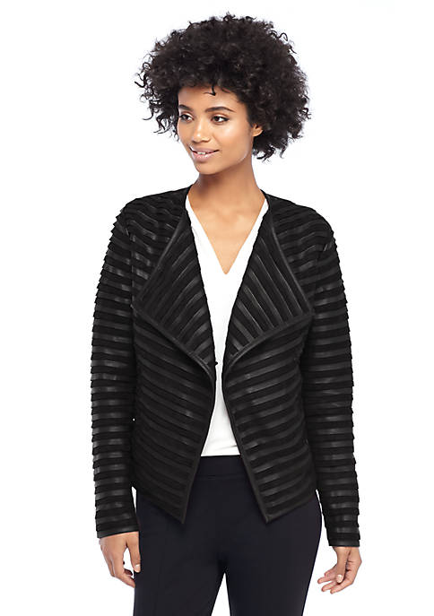 Faux Suede and Pleather Pieced Jacket