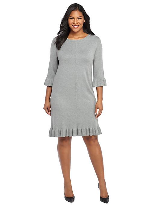 Plus Size Ruffle Hem Sweater Dress The Limited