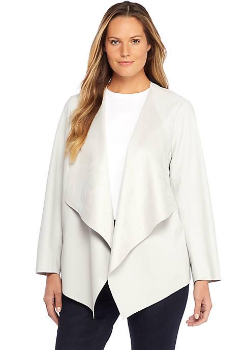 Plus Size Open Drape Front Faux Leather Jacket