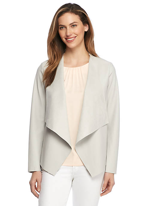 Faux Leather Drape Front Jacket