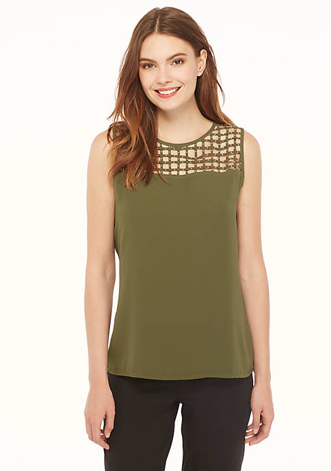 Sleeveless Yoke Studded Tank
