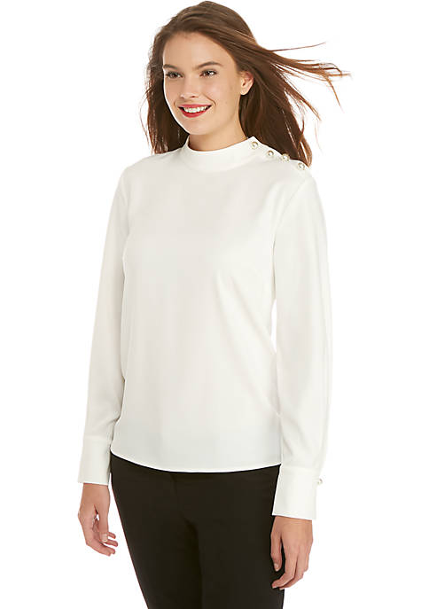 Woven Turtleneck with Large Pearl Buttons