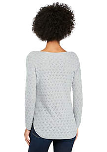Long Sleeve Bandeau Neck Novelty Stitch Pullover Sweater