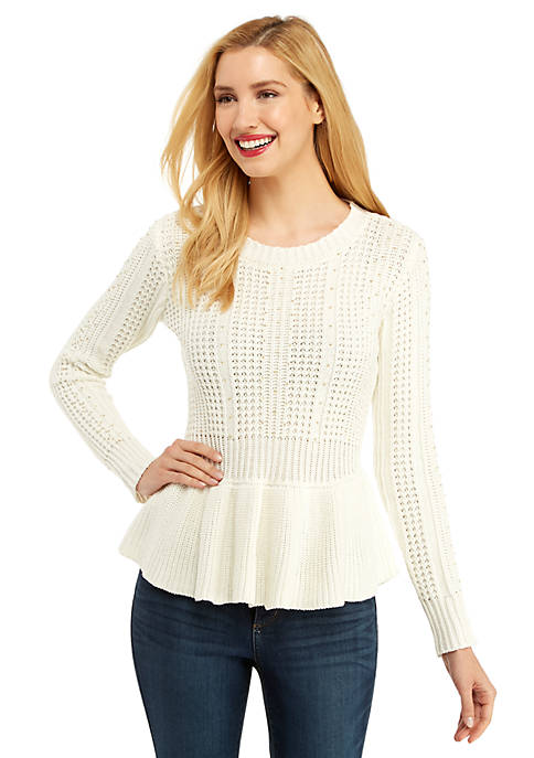 Petite Cable Knit Peplum Pullover Sweater