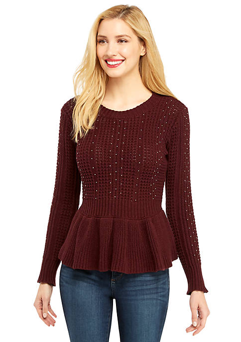 Cable Knit Peplum Pullover Sweater