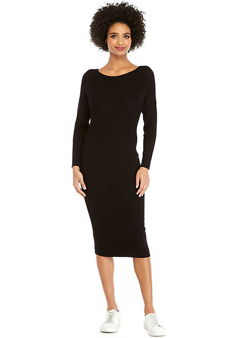 Long Sleeve Midi Ribbed Sweater Dress