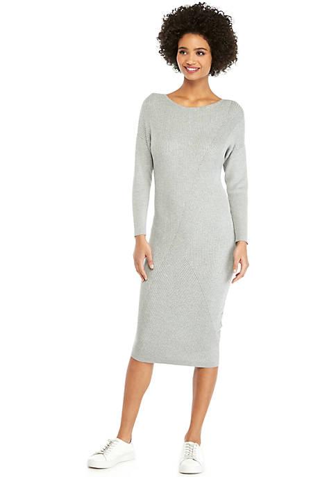 Long Sleeve Midi Ribbed Sweater Dress