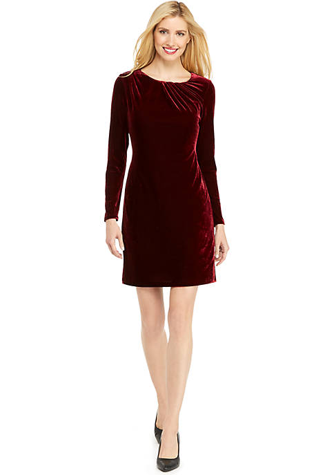 Seamed Velvet Dress
