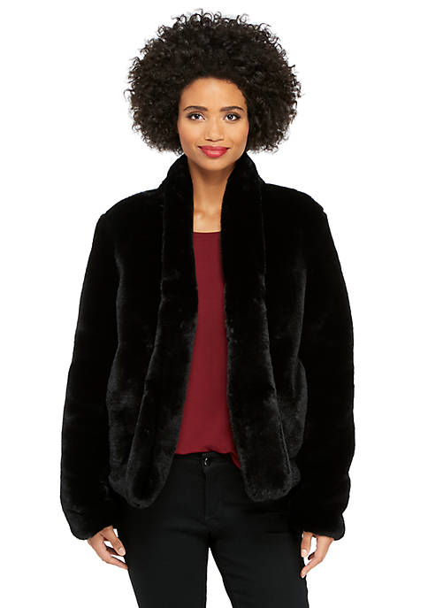 Long Sleeve Kiss Front Faux Fur Jacket