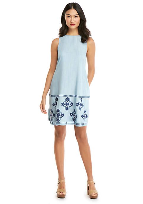 Sleeveless Embroidered Chambray Swing Dress