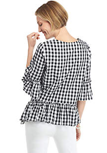 Gingham Elbow Sleeve Tunic with Ruffle Trim