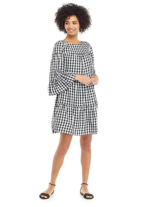 Gingham 3/4 Ruffle Sleeve Boat Neck Dress