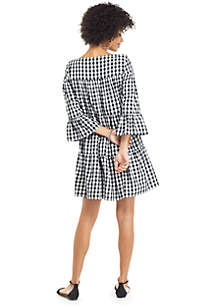 Gingham 3/4 Ruffle Sleeve Boat Neck Dress