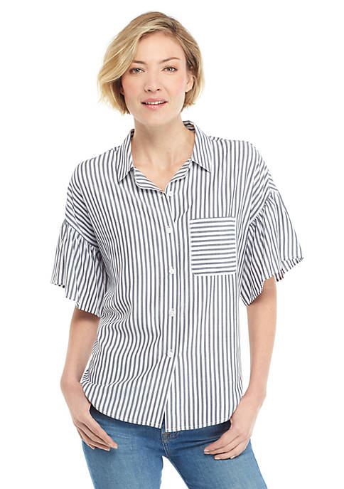 Striped Short Ruffle Sleeve Button Front Top