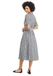 Gingham Short Bow Sleeve Belted Shirtdress