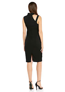 Sleeveless Cutout Mock Neck Sheath Dress