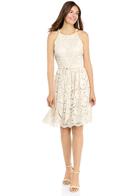 Halter Neck Lace Fit and Flare Dress with Tie Waist