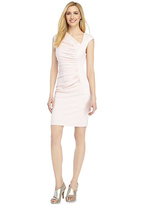 Brooke Asymmetric Ruched Sheath Dress