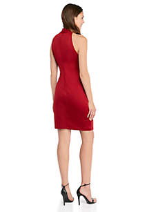Sleeveless Halter Neck Bow Sheath Dress
