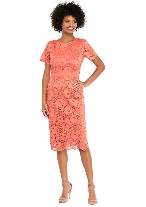 Short Sleeve Lace Scallop Edge Sheath Dress