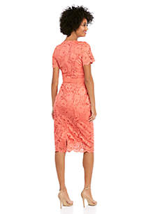 Short Sleeve Lace Scallop Edge Sheath Dress