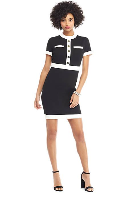 Button Sheath Dress