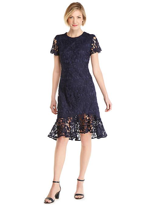 Short Sleeve Asymmetrical Ruffle Hem Dress