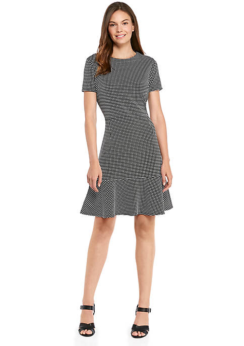 Short Sleeve Knit Dress with Flared Hem