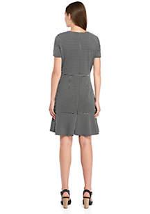 Short Sleeve Knit Dress with Flared Hem