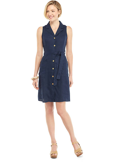 Sleeveless Collared Button Down Dress