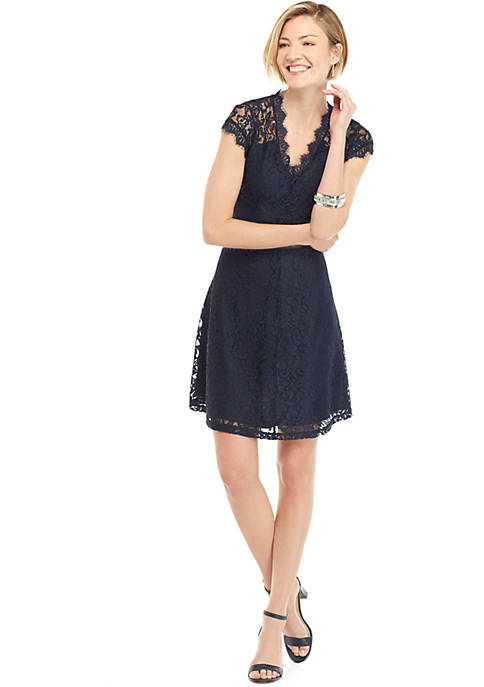 Short Sleeve Lace Fit and Flare Dress