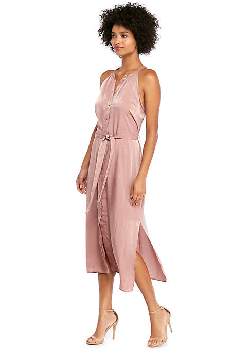 Sleeveless Button Front Midi Dress