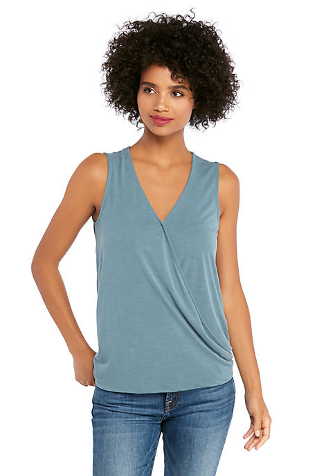 Sleeveless V Neck Drape Bottom Tank