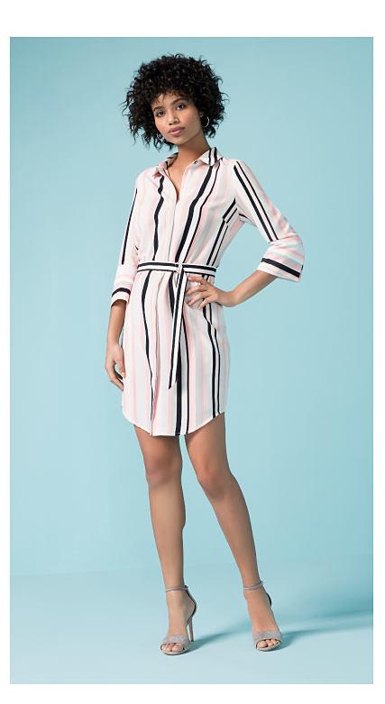 woman wearing a striped dress
