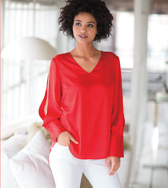 woman wearing red shirt