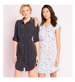 Model in black button-up shirt dress with tie waist & rolled sleeves. Model in white dress with blue, red, & purple floral print and flutter cap sleeves.