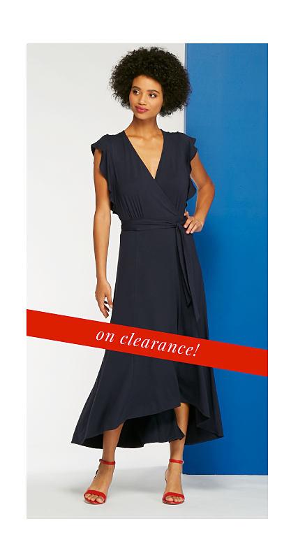 woman wearing blue dress