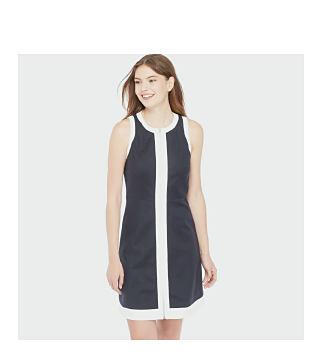 BLACK WITH WHITE COLOR BLOCK DRESS