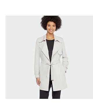 woman wearing GREY jacket