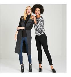 Model in long, grey sweater, black turtleneck, & jeans. Model in leopard print top & black pants.