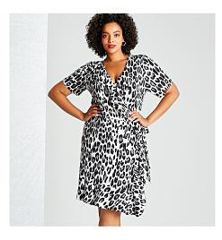 Model in leopard print dress.
