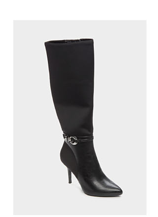 Black knee-high boot with buckle detail