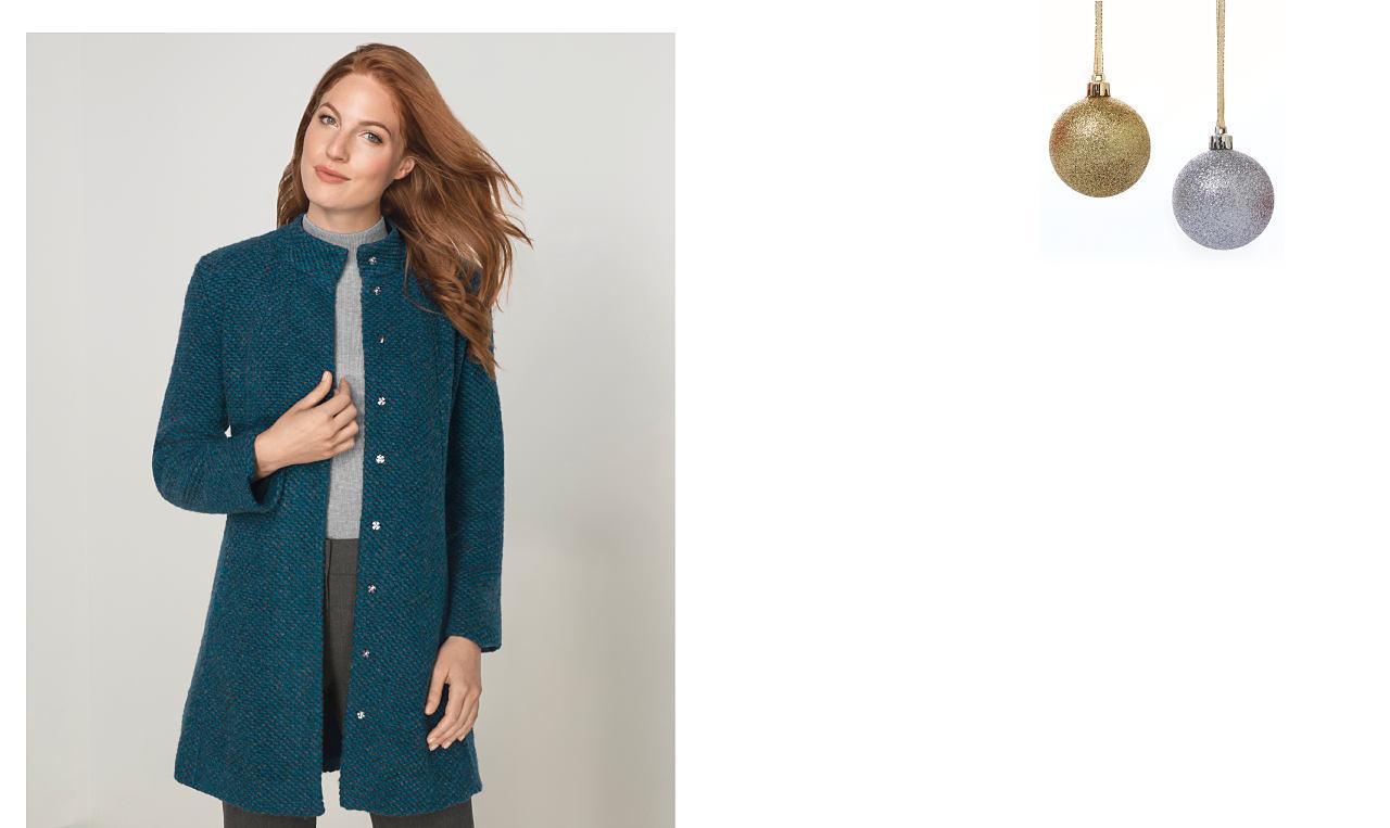 A woman wearing a blue marled jacket